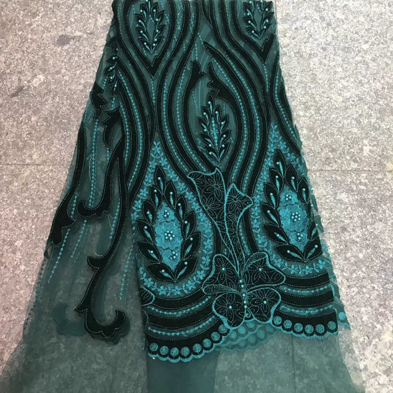 New arrival african velvet net lace fabrics high quality Green tulle lace fabric for party dress