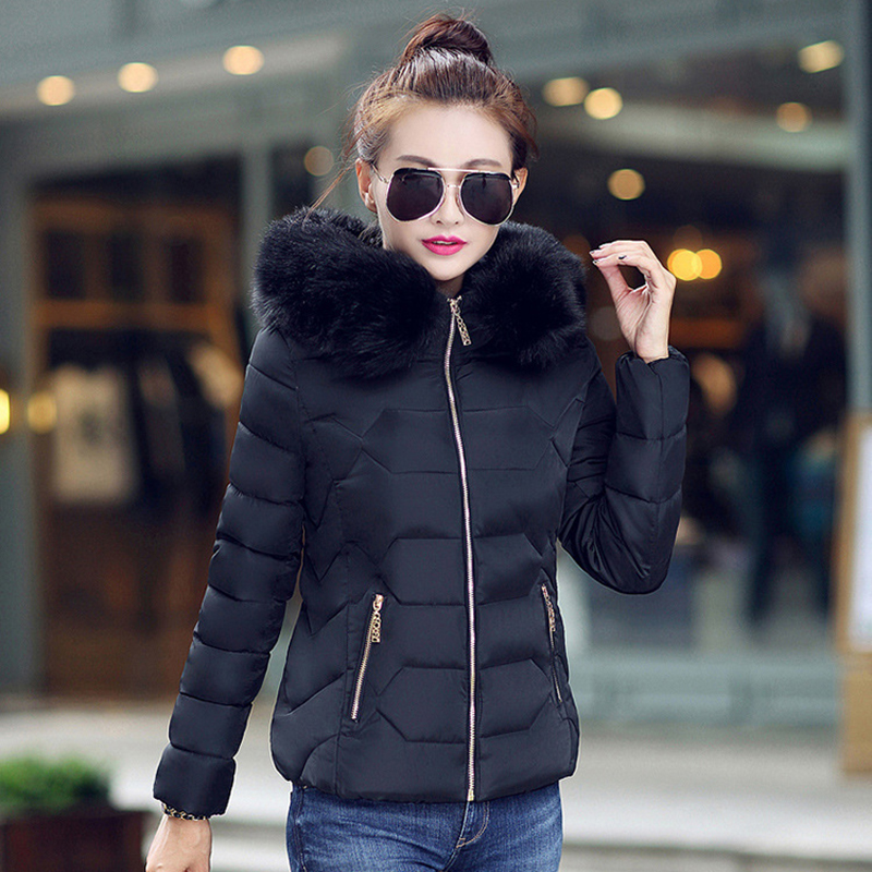 Winter Short Women Jacket Coat Cotton Warm Fur Hooded Parkas Women Outwear Zip Casual Fashion Black Warm Female Coats WT4583 2