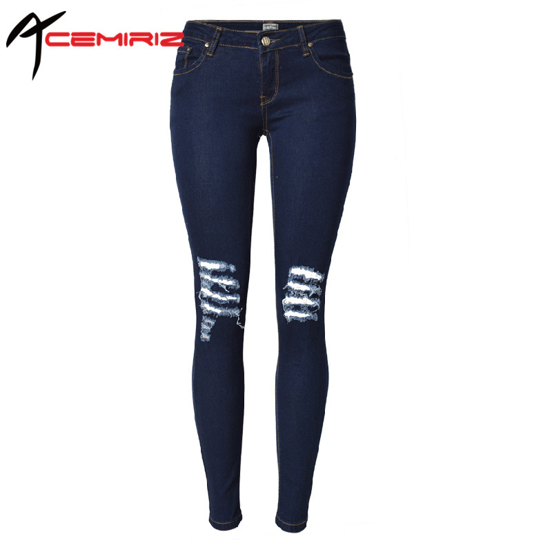 ACEMIRIZ Pencil Jeans Low Waist Skinny Denim Pants 2017 Fashion Casual Women Vintage Ripped Hole Pants Sexy Summer SL028 rosicil hot sale women jeans pencil pants fashion hole ripped femme denim pants skinny low waist female trousers sl028