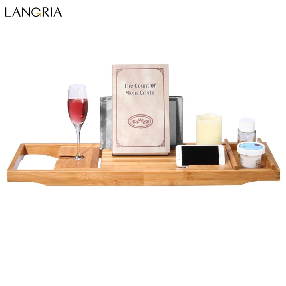 LANGRIA Bamboo BathtubTray Handcrafted Bath Tray Bathroom Shelves ...