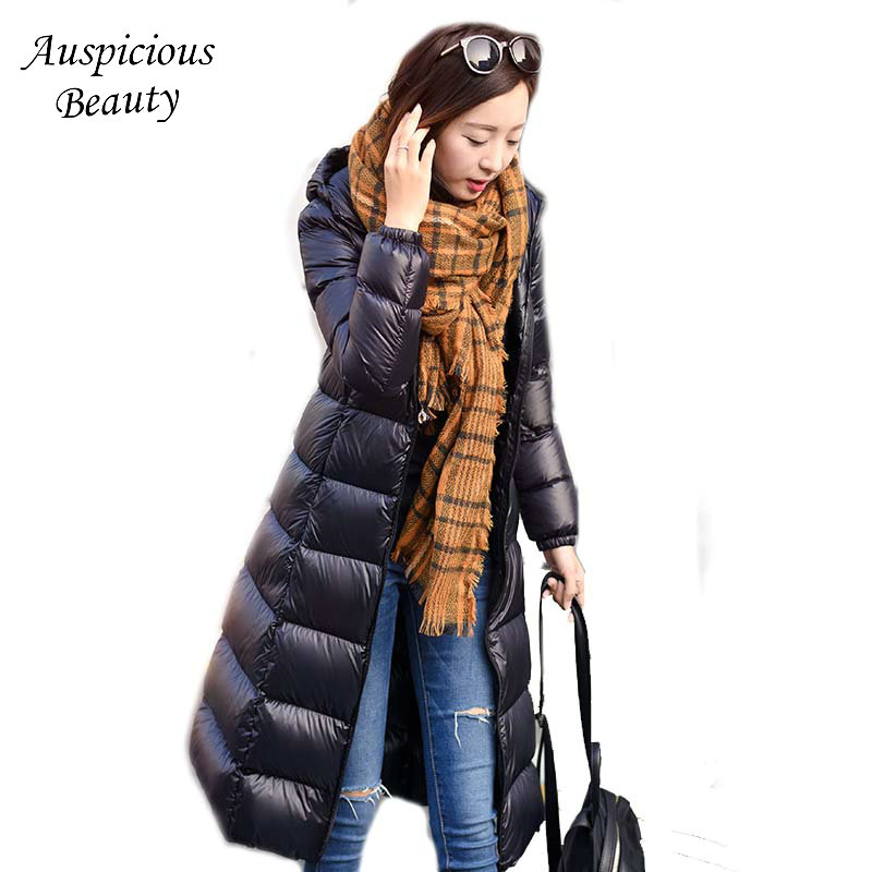 2017 New Winter Big Yards Long Down Jacket Hooded Coat Lady Women Slim Parka High Quality White Duck Down Warm Outerwear CXM298 2016 new high quality brand men winter cotton down jacket coat parka clothing men and women hooded warm outerwear overcoat