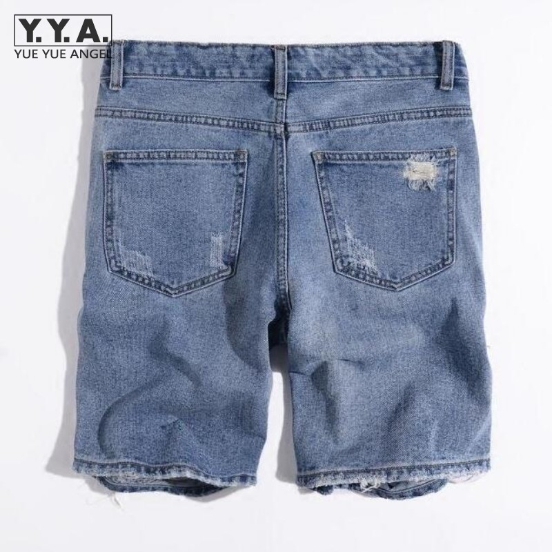 Summer Men Denim Shorts Big Hole Ripped Homme Short Jeans Classic Korean Casual Denim Beachwear Cotton Trousers Free Shipping