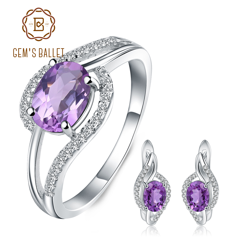 GEM S BALLET 925 Sterling Silver Wedding Jewelry Sets 3 91Ct Natural Amethyst Statement Earrings Ring