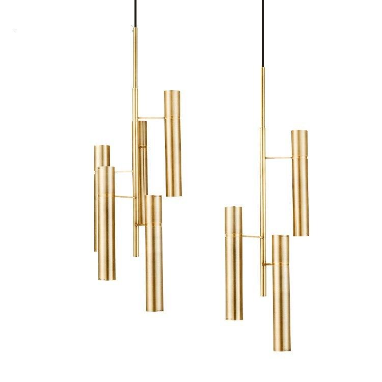 Işıklar ve Aydınlatma'ten Kolye ışıkları'de Modern Amerikan basit bakır kolye işıkları altın oturma odası otel salonu bar asılı işıklar yatak odası çalışma dekor spot armatür