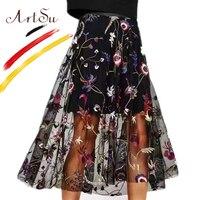 ArtSu Elegant Floral Embroidery Long Black Mesh Skirt Women Elastic Waist Faldas Bohemia Beach Wear Pleated Skirts 2018 Spring