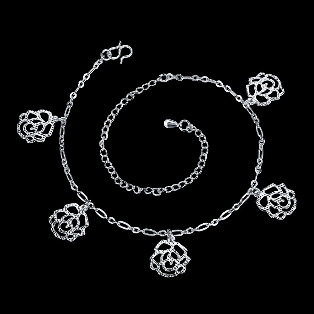 2016 Hot Fashion Sexy Silver Color Beach Anklet multilayer hollow flower Ankle Bracelet Foot Jewelry for