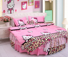 Round Bed Bedding kit supercalifornia king size leopard print kitty cat duvet cover wedding bedding 4pcs set pillowcase bedskrit