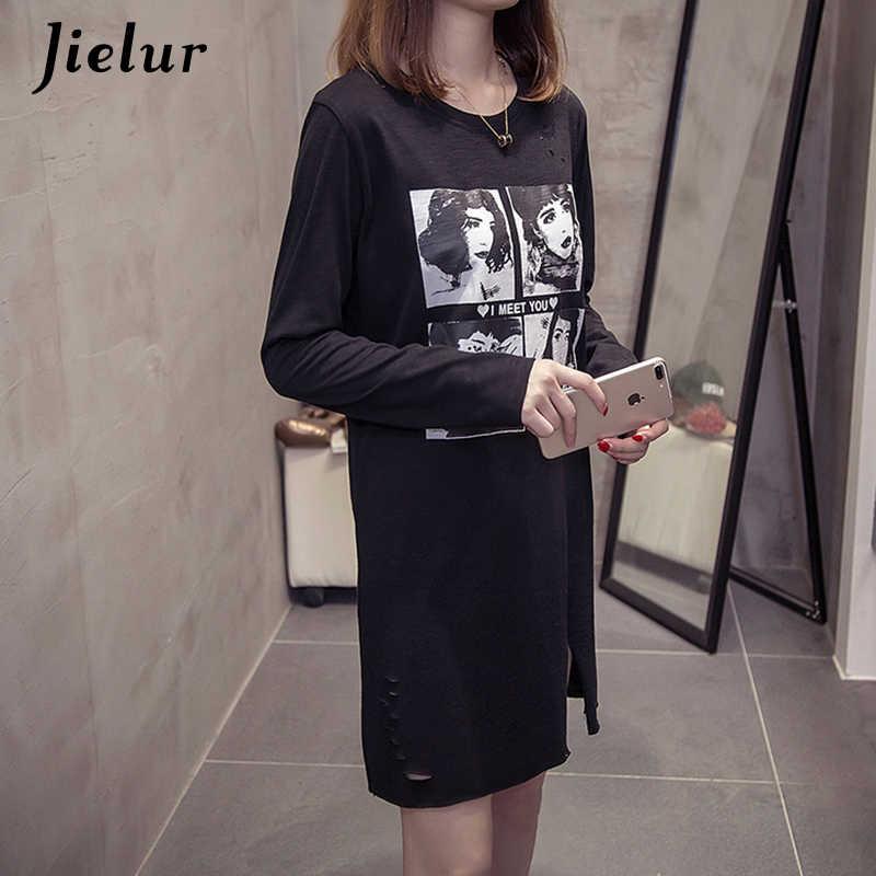 Jielur осенние белые черные топы хлопковые женские корейские футболки с длинными рукавами и рисунком из мультфильмов женская футболка харадзюку Прямая поставка