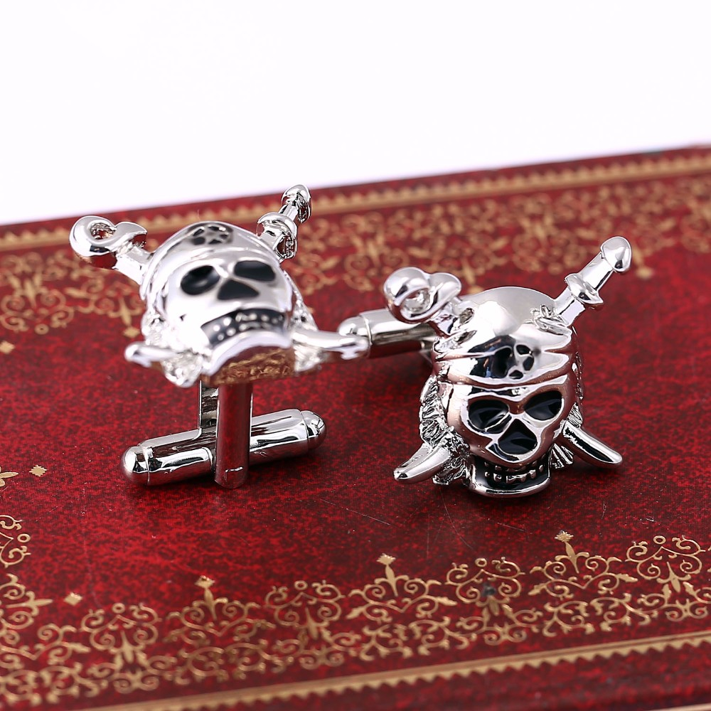 Mengtuyi Jewelry Cuff Links Punk Pirates Of The Caribbean Skeleton Cufflinks For Men Shirt Buttons Business Accessory