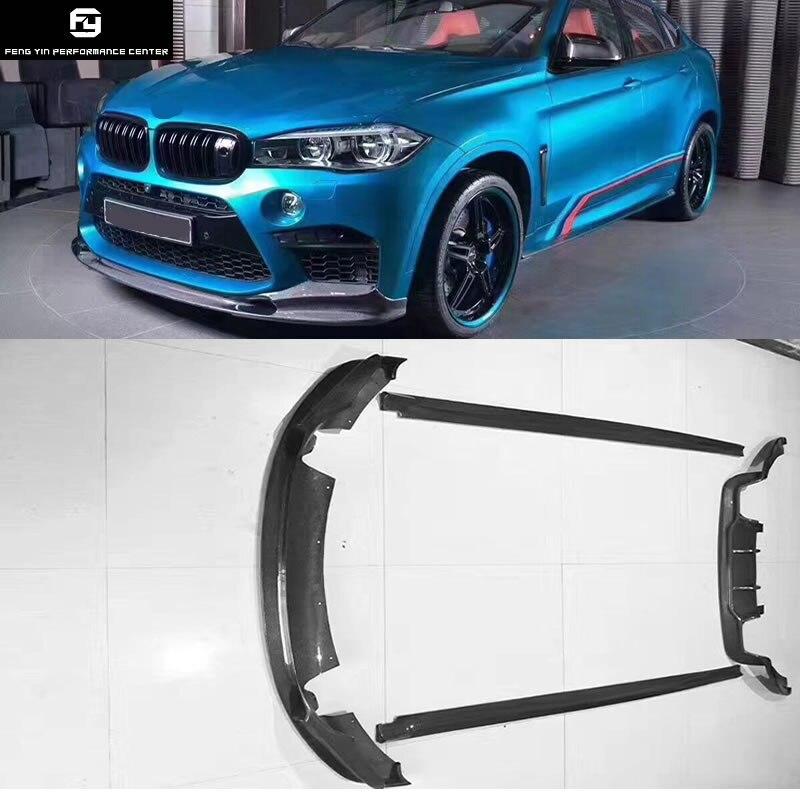 F15 X5 F16 X6 X6M 3D style lame de pare-chocs avant en fiber de carbone diffuseur de pare-chocs arrière jupes latérales pour BMW F16 x6 X6M 3D Conception 2014UP