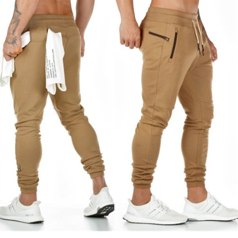 Autumn New Gyms Men's Pants Joggers Skinny Sweat Pants Embroidery Tights Sweatpants For Men Side Zipper Sheer Trouser Pants