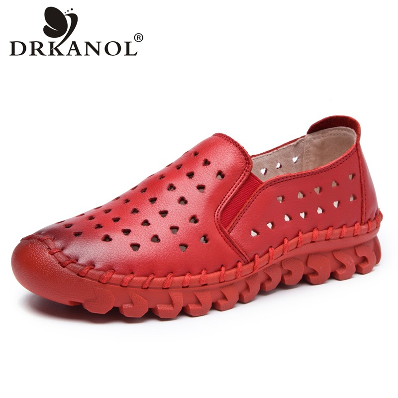 DRKANOL Handmade Summer Women Shoes Breathable Natural Cow Leather Slip On Loafers Genuine Leather Flats Casual Shoes Woman drkanol summer slip on flats breathable hollow out women flat loafers shoes round toe bow knot soft genuine leather casual shoes