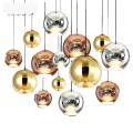 modern dining glass ball pendant light Copper &silver Mirror Ball Lustre pendant lamp Globe Glass Ball Lamp Christmas bar Light