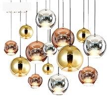 modern dining glass ball pendant light Copper &silver Mirror Ball Lustre pendant lamp Globe Glass Ball Lamp Christmas bar Light