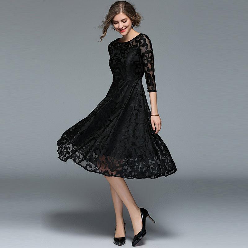 cfba336197 New 2018 Spring Fashion England Style Luxury Elegant Slim Ladies Party  Dress Women Casual Lace Dresses ...
