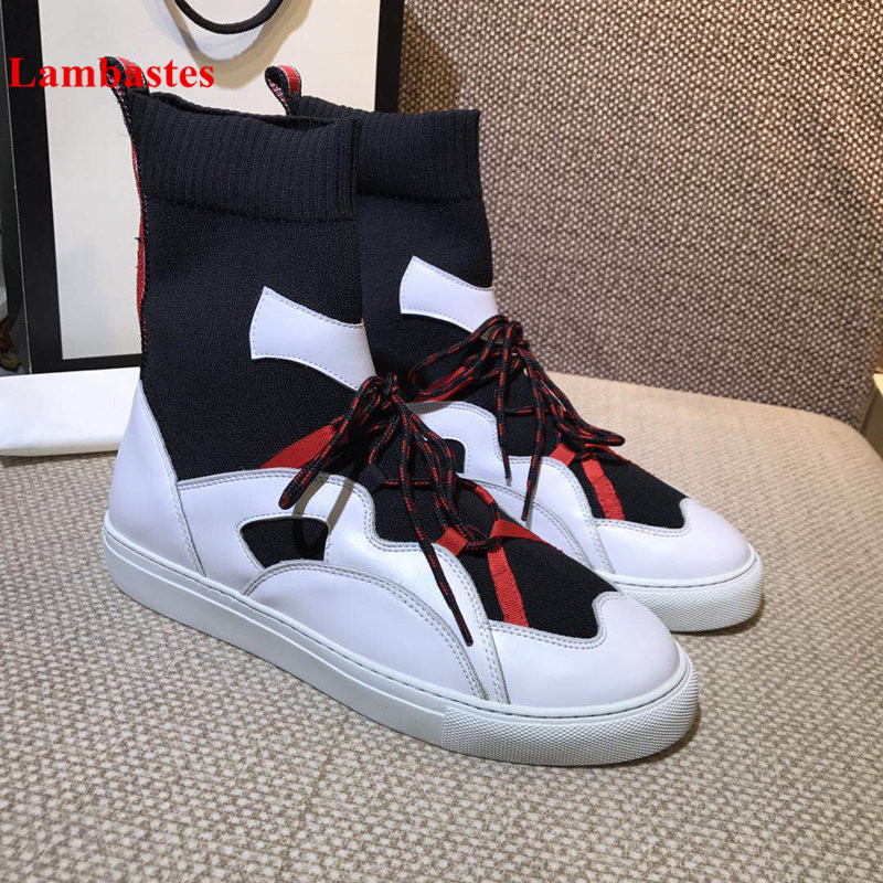 2018 New Winter Mixed Color Cross-tied Stretch Ankle Socks Boots Women Patchwork Slip On Knitted Round Toe Flats Botas Mujer