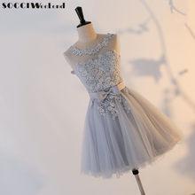 cf2160557 SOCCI FIN DE SEMANA gris de encaje de tul corto sin mangas Bridemade vestido  encima de la rodilla vestido Formal boda fiesta ves.