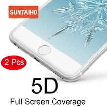 Suntaiho için iphone X XR XS cam iphone 6S 7 8 artı temperli cam için iphone 11Pro ekran koruyucu 5D tam kapak soğuk oyma