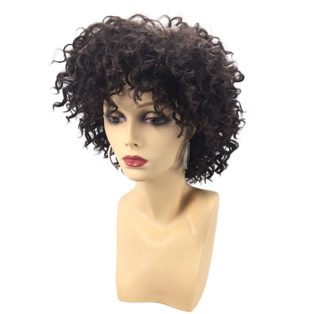 Short Side wigs for women Fringe Fluffy Afro Curly Synthetic Wig Hair Jet Black Heat Resistance Fiber 6623A