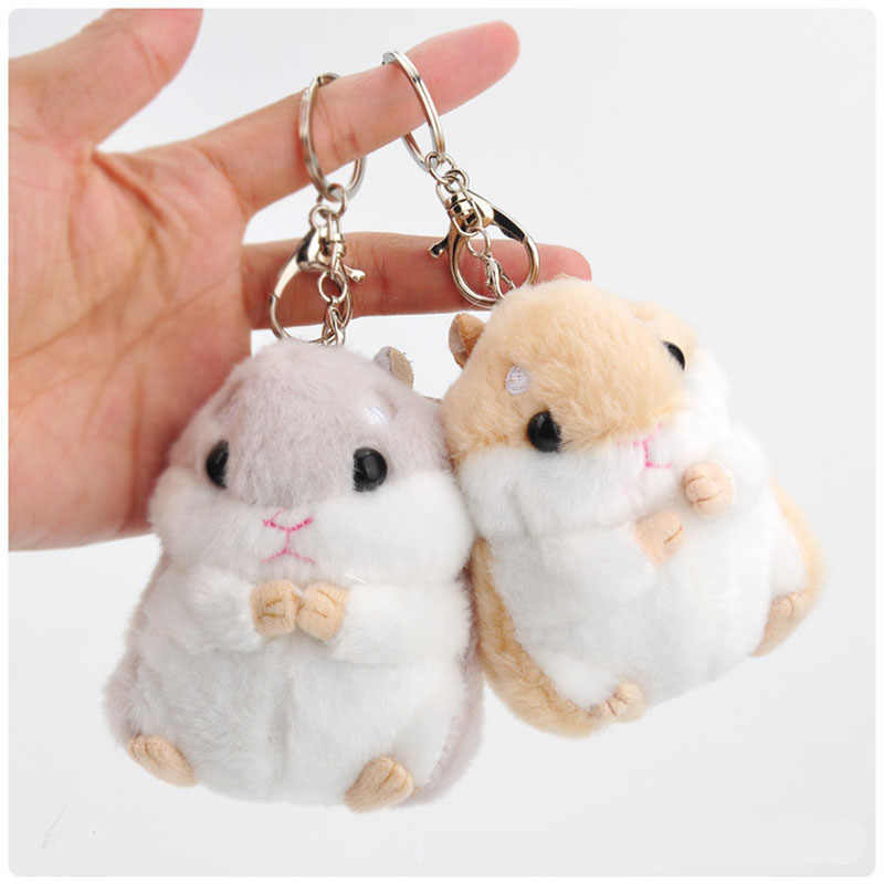 RE hamster Mini chaveiros chaveiros faux rabbit fur pompom fofo bugigangas carro bolsa pingente chaveiro anel titular pompom G30