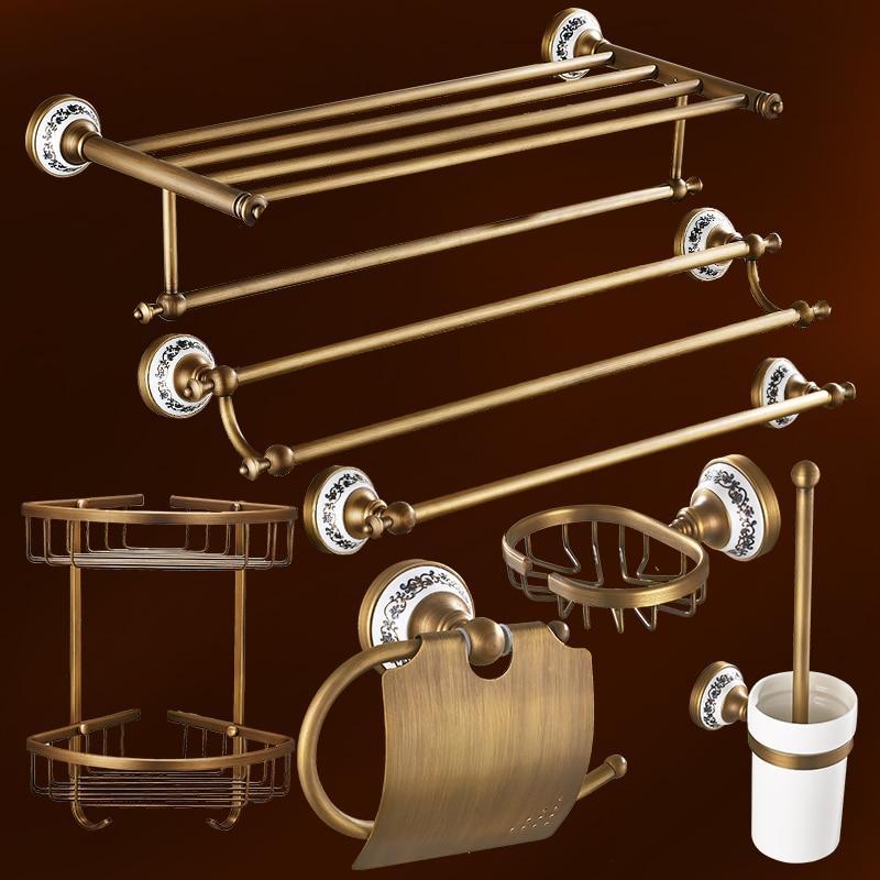 Antique solid brass bathroom accessories set bronze for Bronze bathroom accessories set