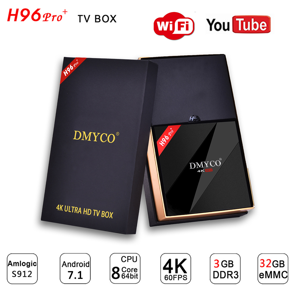 h96 pro plus android 7.1 TV Box 3GB 32GB Amlogic S912 Octa Core 2.4G/5.8G WiFi H.265 HDR10 4K Smart TV box H96 Pro+Media Player
