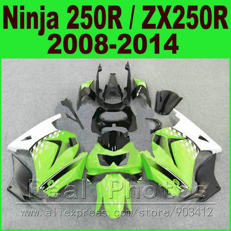 OEM color Kawasaki Ninja 250r green white Fairings EX250 year 2008 2009 2010 2011 2012 2013 2014 ZX 250 fairing kits parts R9O1