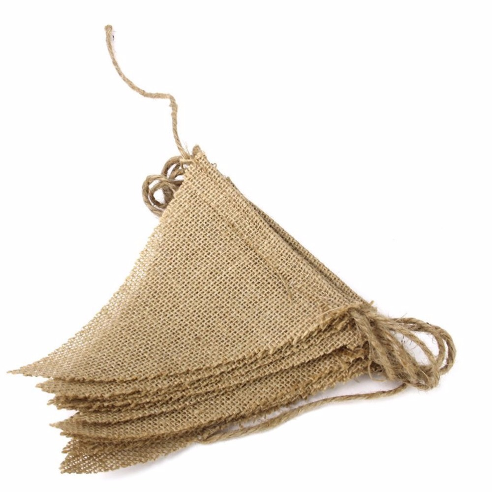 3m DIY Vintage Juta Hessian zsákvászon Bunting Banner kit Esküvői - Ünnepi és party kellékek