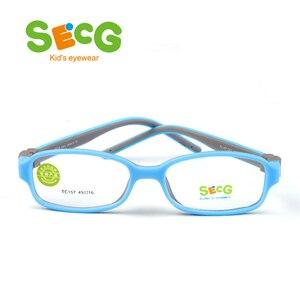 Image 3 - SECG TR90 Ультралегкая мягкая гибкая безопасная детская рамка Lunettes De Vue Enfan Рамка для близорукости для мальчиков и девочек унисекс резиновая лента
