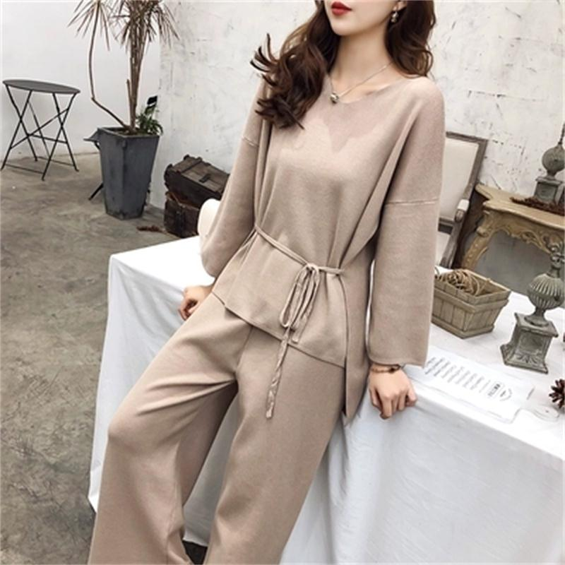 Fashion Knit Sweater Set Large Size Women's 19 Spring New Loose Casual Knit Sweater + Wide Leg Pants Set Two Piece Suit Women