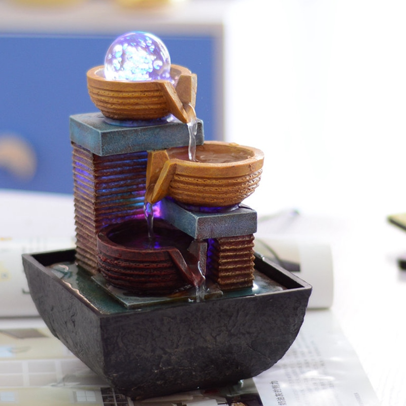 small fountain water waterscape indoor ornament desk creative decoration decoration feng shui round personality