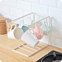Iron Storage Rack Paint Spraying Hanger Shelf Kitchen Storage Organizer Coffee Cups Mugs Rack Cup Holder