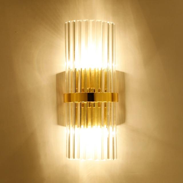 Home 45cm Long crystal Wall Lamp sconce lounge crystal bar Light Luxury Corridor Loft Bedside Lighting Living Room Gold Lighting