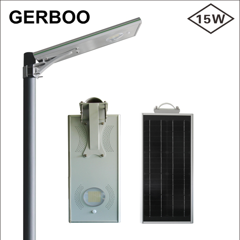 Golden Supplier Aluminum Housing All in One Solar Street Lights with 15 watt Led Solar Street Lights All In One With PIR Motion