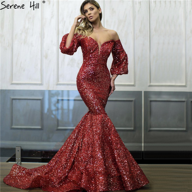 5cfc0b04bf Dubai Red Sequined Off Shoulder Sexy Prom Dresses 2019 Latest Design  Mermaid Long Sleeves Luxury Prom Gowns BLA60993