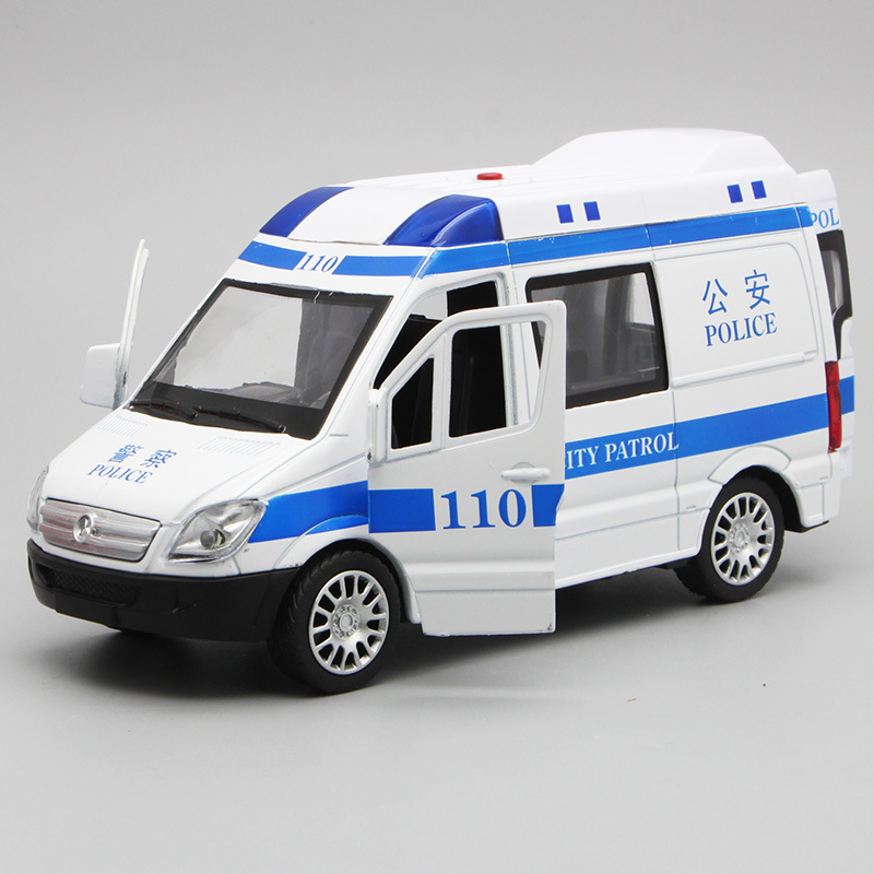17cm Business Political Toy Car Model Alloy Scale 1:32 Sound Light For Mercedes Benz 110 Ambulance Alloy Pull Back Car Model Toy