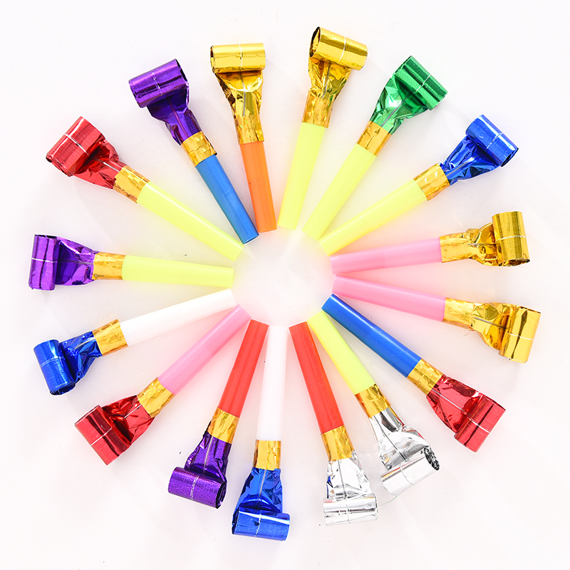 5Pcs Blowing Dragon Whistle Funny Colorful Child Birthday Party Supplies Cheerleading Gifts Rolling Long Nose Plastic Horn Props