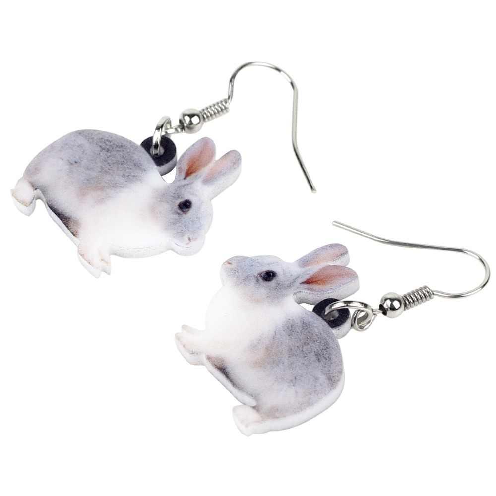 WEVENI Acrylic Lovely Fluffy Rabbit Bunny Earrings New 2018 Dangle Drop Cartoon Jewelry For Women Girl Female Animal Charms Gift