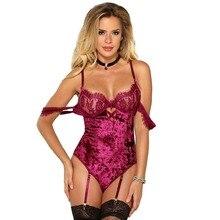 79432e63dd YSMARKET M XL 3XL 5XL Femme Sexy Garter Set Off Shoulder Bodysuit Lace  Sleeve Back Strappy