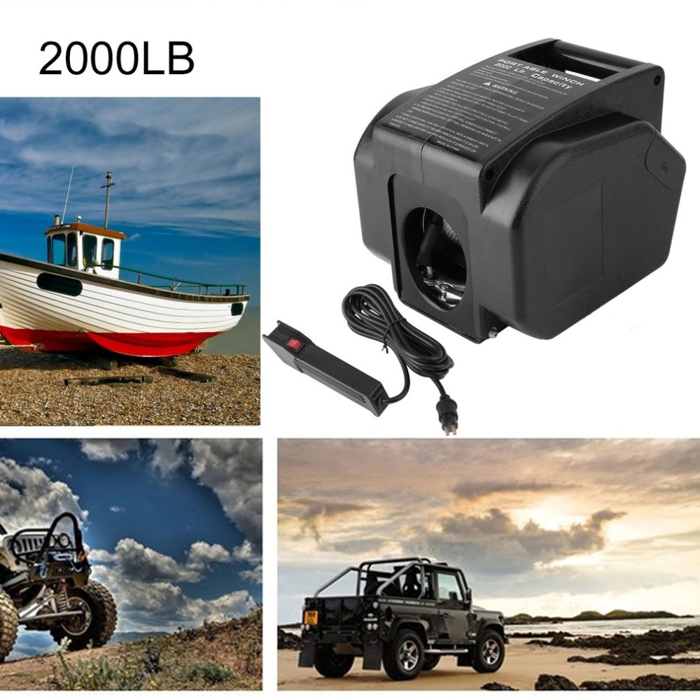 Heavy Duty Professional 12V 2000LB Boat Trailer Electric Recovery Winch Car Vehicle ATV Quad Puller Windlass Hand Tool hot sale high quality 2000lb electric winch kits for atv utv off road vehicle 12v differential planetary