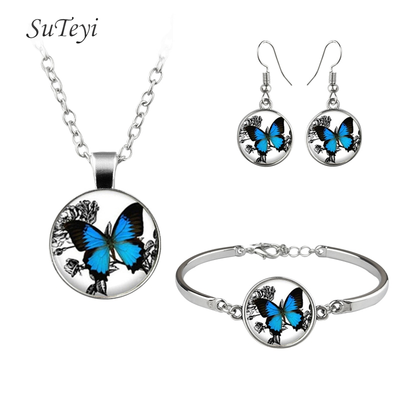 SUTEYI Romantic White And Blue Butterfly Art Picture Glass Necklace Hooks Earrings Bracelet Jewelry Sets For Wedding For Gift