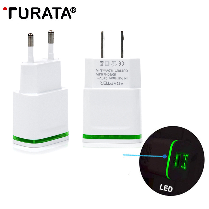 TURATA USB Charger For iPhone 7 X 6 6S Samsung Android 5V 2.1A 2-Ports Mobile Phone Universal Fast Charge LED Light Wall Adapter