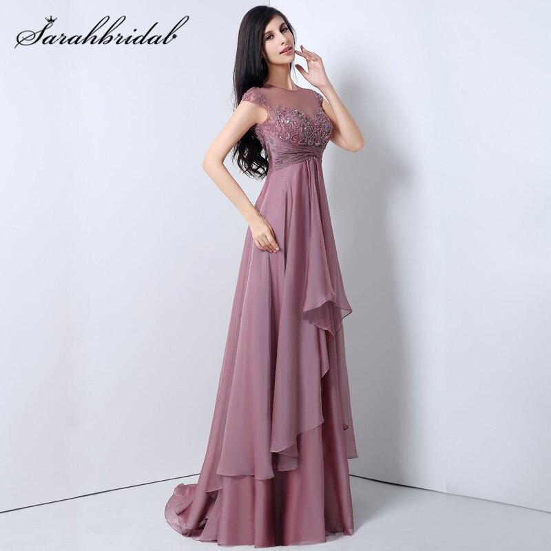 Mauve Vintage Chiffon long Prom Dresses A Line O Neck Cap Sleeve ...