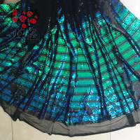 5 Colors in stock White, Red, Black, Green, Gold stripe design sequin fabric 1 yard! Top quality women gowns dresses making lace