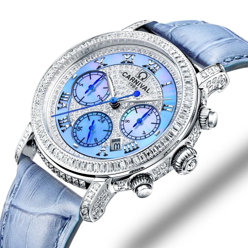Switzerland Watches Carnival Luxury Brand Full Diamond Watch Women Japan MIYOTA Automatic Mechanical Sapphire Clock C86905-4