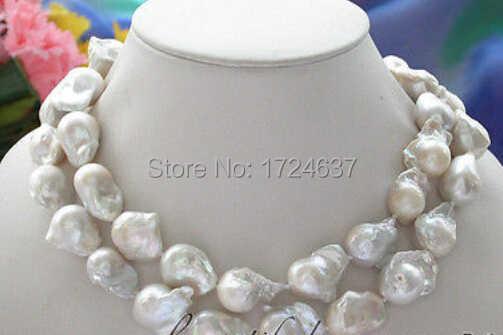 Darmowa wysyłka + + + + + + + 2row biały barokowy KESHI REBORN naszyjnik z pereł