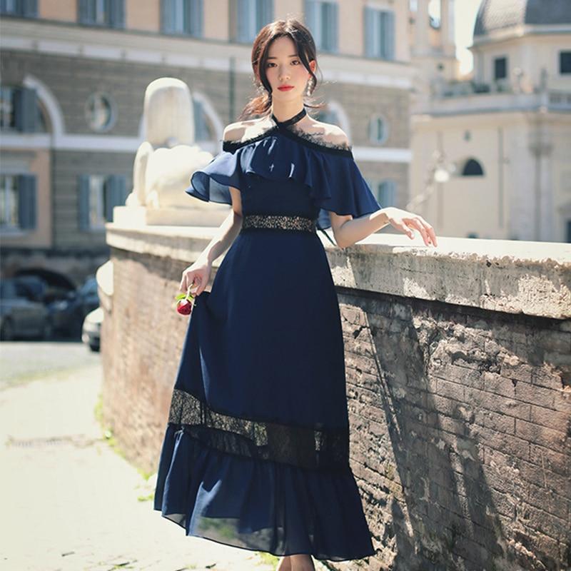 Mode femmes licou épaule dénudée sexy robe nouveauté été OL grande taille tempérament vintage élégant vacances robe de soirée