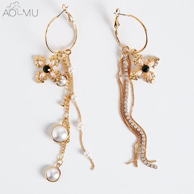 f0204aa55 AOMU Baroque Vintage Asymmetry Green Stone Cross Simulated Pearl Jewelry  Long Chain Tassel Earrings Women Earrings