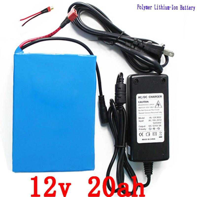 Batterie au lithium 12 V 20ah batterie Lithium ion 12 v 20000 mah batterie au lithium polymère avec chargeur 12.6 V 3A pour moteur 150 W 200 W