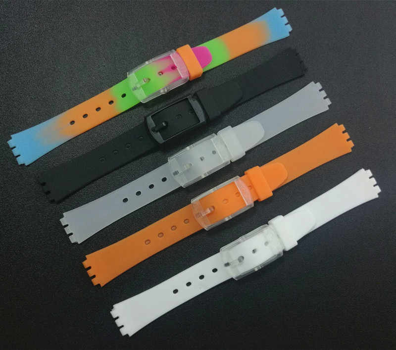 Top Quality Black Blue white Green 12mm Silicone Rubber Watchband For Swatch Colorful Rubber watch band strap plastic Buckle